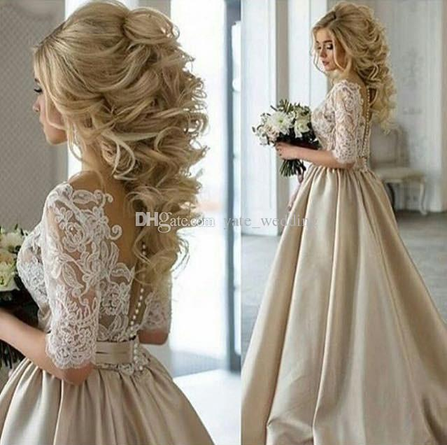 100 Dollar Wedding Dress Awesome Discount Real Image 2018 Newest Champagne Wedding Dresses Sheer Neck Half Sleeves Appliques Lace Satin Wedding Gowns Vintage Bridal Dress