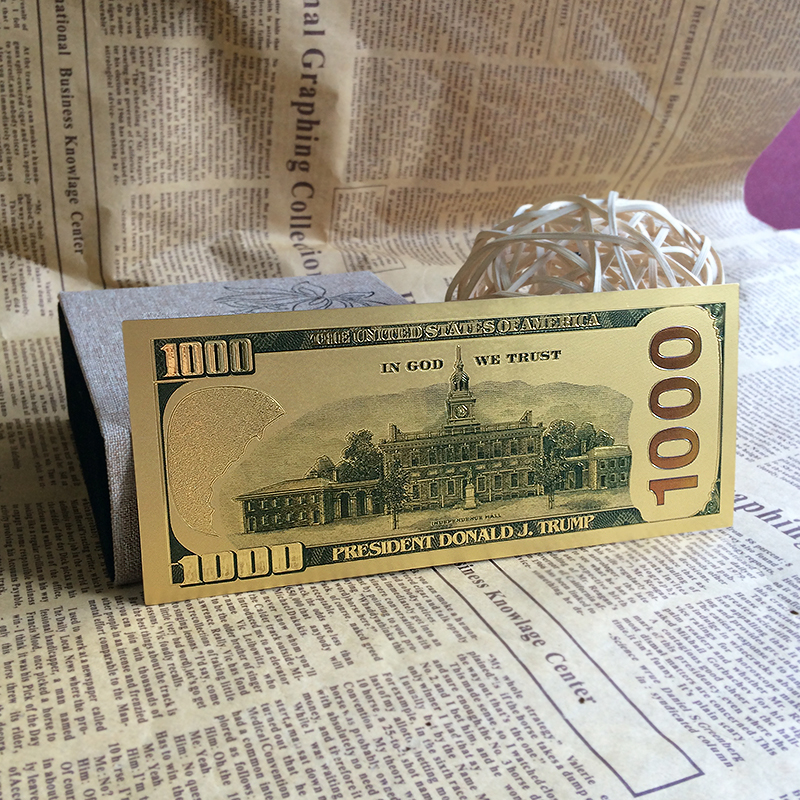Neue handwerk geschenk plastikkarten American gef lschte geld vergoldet Trump 1000 dollar banknote gold papier geld