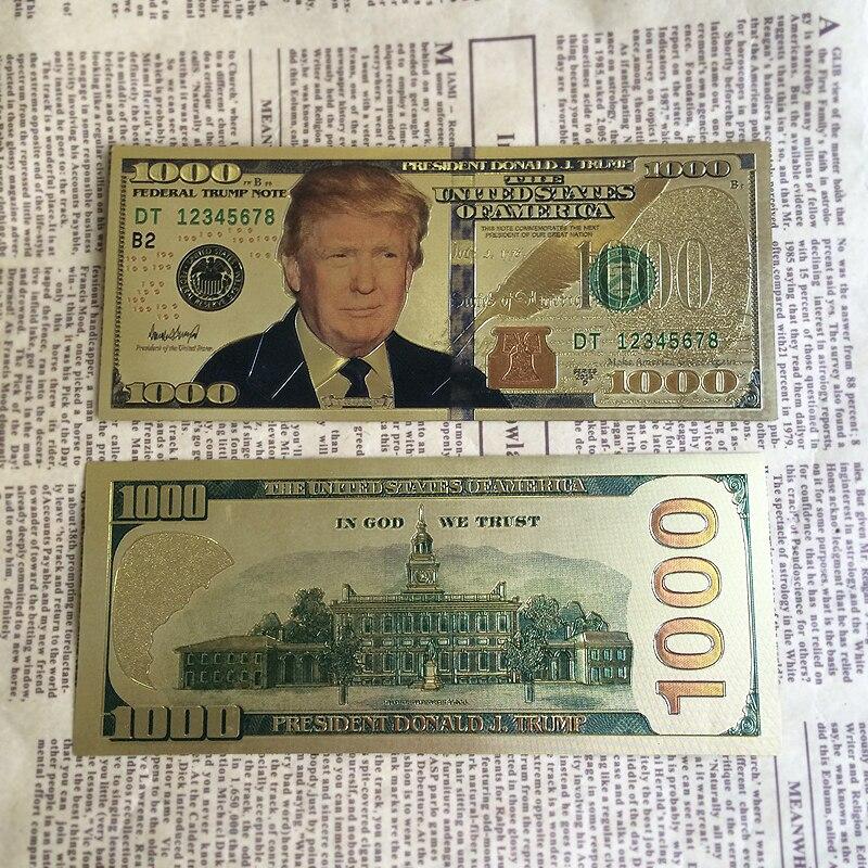1000 Dollar Wedding Lovely Us $4 13 Off Neue Handwerk Geschenk Plastikkarten American Gefälschte Geld Vergoldet Trump 1000 Dollar Banknote Gold Papier Geld Für Sammlung In