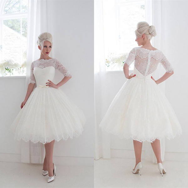 1950 Wedding Dresses Awesome 1950 S Style Short Wedding Dresses Ball Gown Vintage Lace Ribbon Cover button Beach Tea Length Bridal Gowns Lace Half Sleeves Bride Dresses Canada