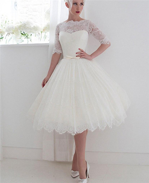1950 Wedding Dresses Beautiful Discount 1950 S Style Short Wedding Dresses 2018 Bateau Lace Ribbon Illusion Back Beach Spring Tea Length Bridal Gowns Lace with Half Sleeves Wedding