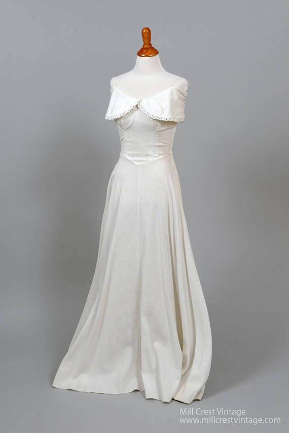 1950 Wedding Dresses Best Of 1950 White Pique Vintage Wedding Gown In 2019