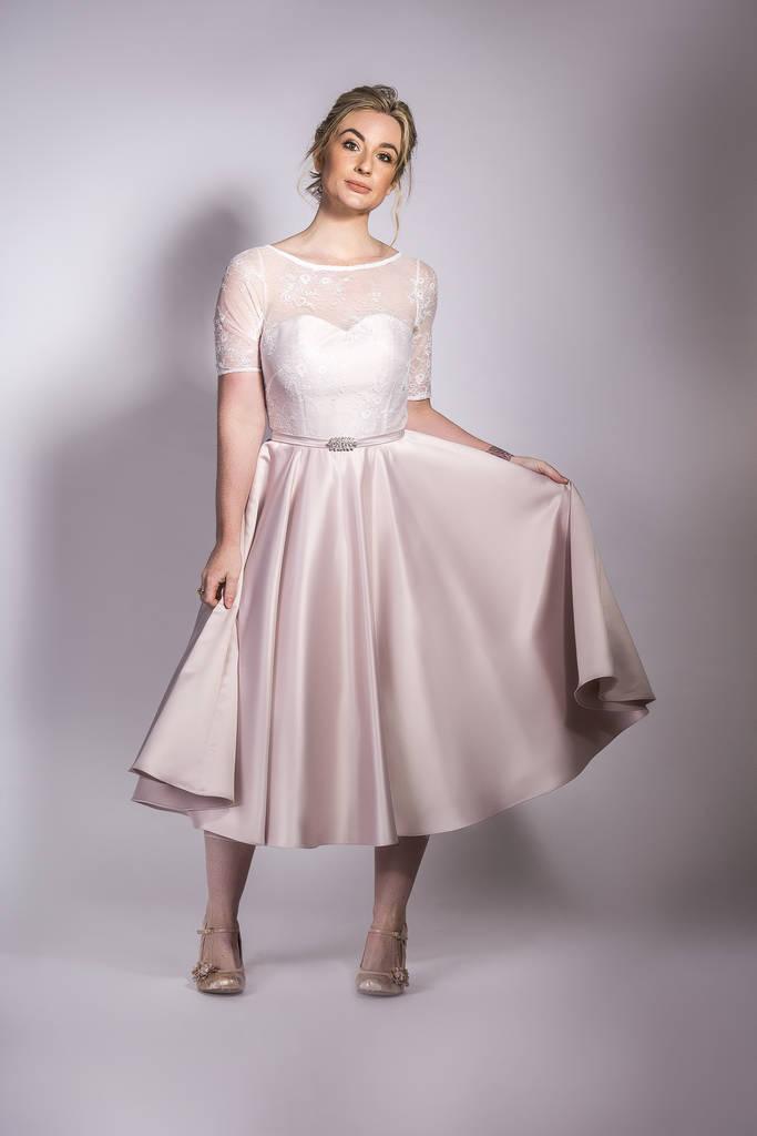 original 1950s tea length bridal satin and lace dress