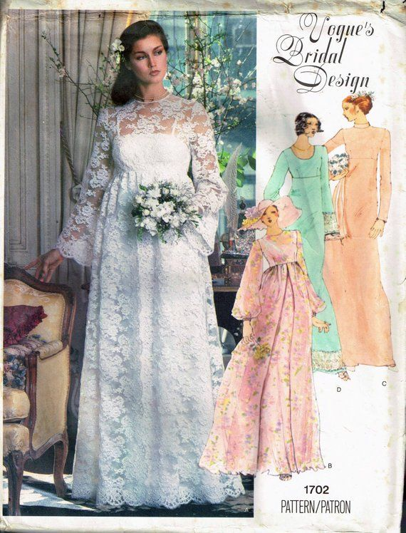 1960s Wedding Dresses Styles New Size 14 Vintage Boho Wedding Dress Sewing Pattern Empire