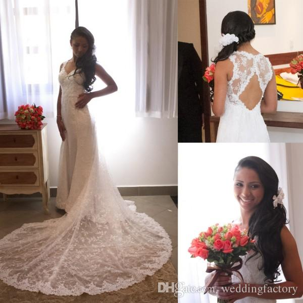 2 In 1 Wedding Dress Elegant Vintage Lace Country Wedding Dresses Sweetheart Sheer Lace Cut Out Open Back Sleeveless Bohemain Bridal Gowns with Court Train