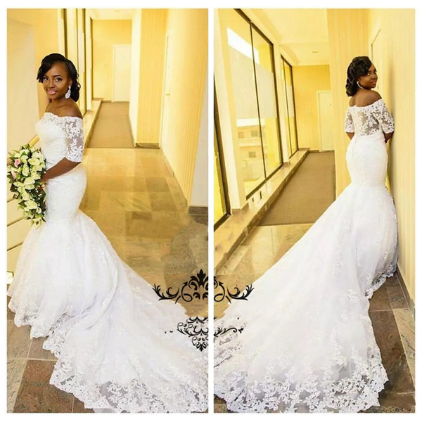 2 In 1 Wedding Dress Fresh Vintage 1 2 Long Sleeves Wedding Dress White Lace Appliques Slim African Plus Size Women Mermaid Bridal Gowns 2017 Custom Made Cheap Sale Bridal
