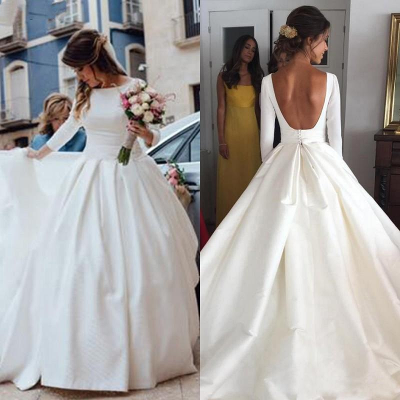 2 In 1 Wedding Dress Lovely 2019 Backless Satin Wedding Dresses with Long Sleeves A Line Ball Gown Puffy Simple Style Bridal Gowns Custom Made Vintage Vestido De Noiva