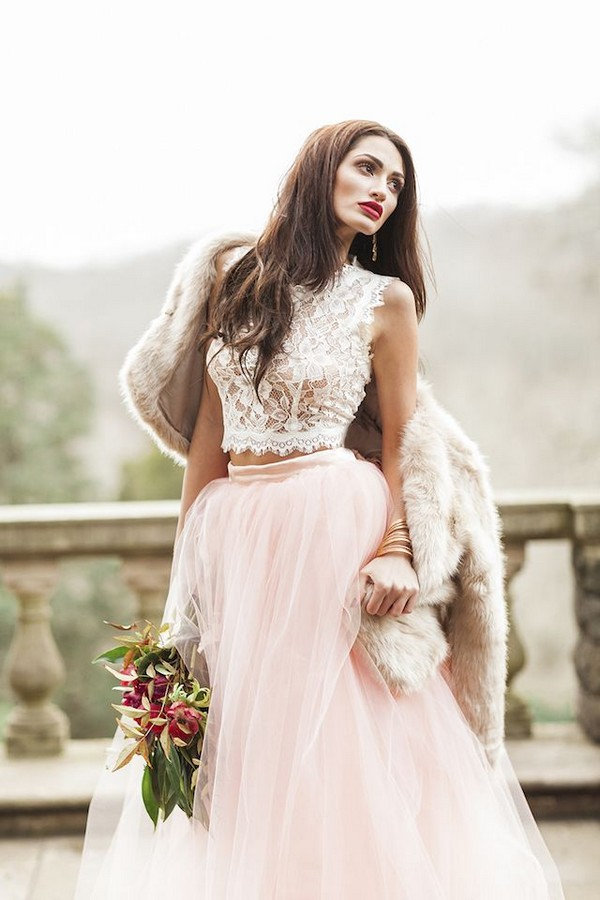 Two piece wedding dress with pink tulle skirt and lace crop top