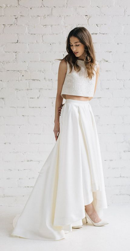 2 Piece Crop top Wedding Dress Elegant Modern Two Piece Crop top Wedding Dress