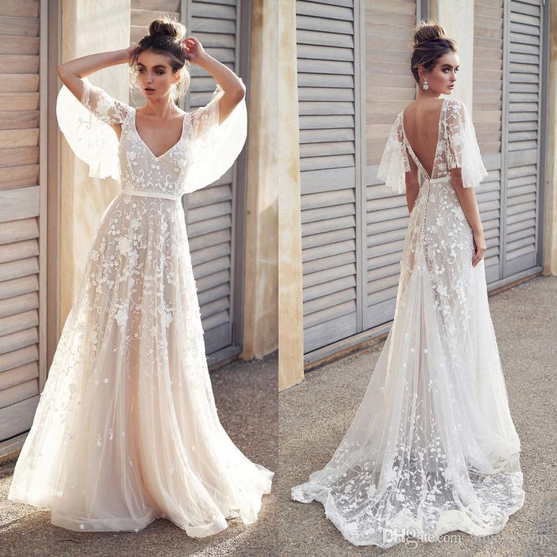2016 Beach Wedding Dresses Beautiful Y Backless Beach Boho Lace Wedding Dresses A Line New 2019 Appliques Cheap Half Sleeve Country Holiday Bridal Gowns Real F7095