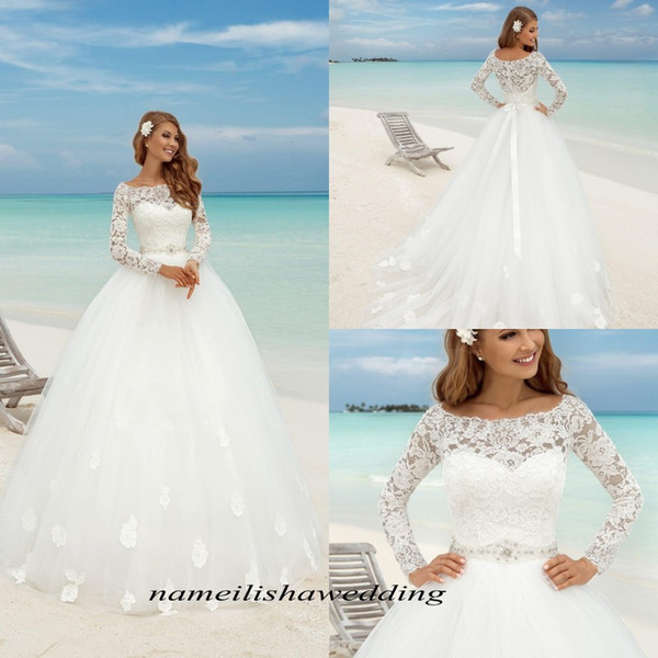 2016 Beach Wedding Dresses Fresh Discount Summer Beach Lace Wedding Dresses 2016 Elegant Scoop Neck Long Sleeves Sheer White Simple Tulle A Line Bridal Gowns Cheap Plus Size Chiffon