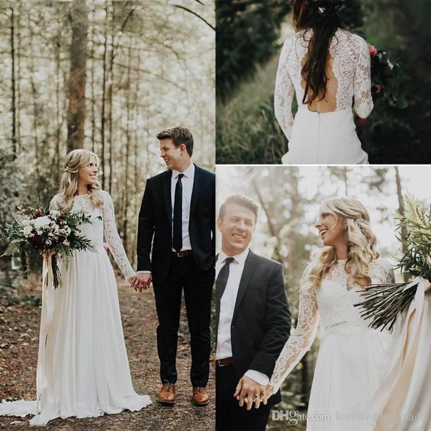 2016 Beach Wedding Dresses Fresh Elegant Lace Chiffon Country Wedding Dresses with Long Sleeves Plus Size Summer Sexy Beach Wedding Bridal Gown Custom Made Vestido De Novia