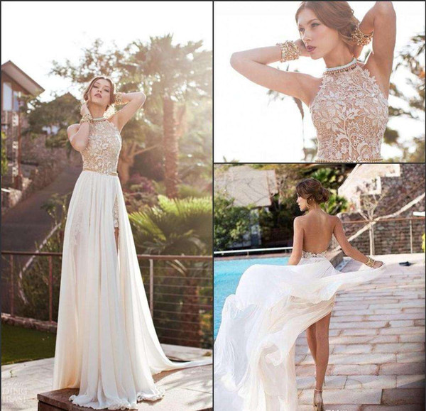 2016 Beach Wedding Dresses Lovely 2016 Summer Beach Boho Sheath Wedding Dresses 2017 Dress Brides Cheap Halter Neck Backless High Side Split Bridal Gowns Lace Plus Size Cheap