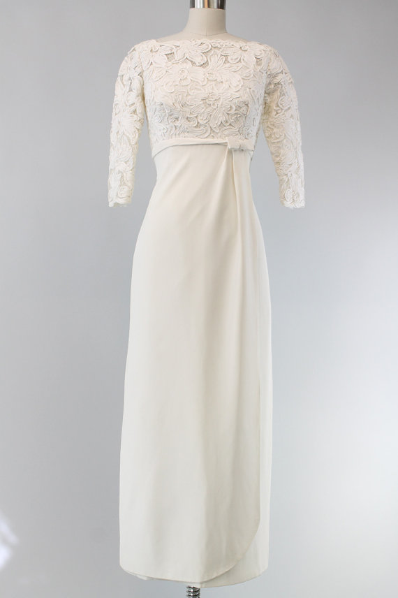 60s Style Wedding Dresses Awesome 60s Ranshoffs Wedding Dress Xs 1960s Guipure Lace Crepe