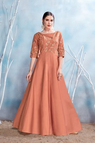 beautiful matte brown color embroidered paty wear gown nmprsa13 xl 500x500