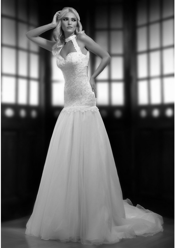 ca elegant a line halter beading sequins lace sweep brush train tulle wedding dresses 2499
