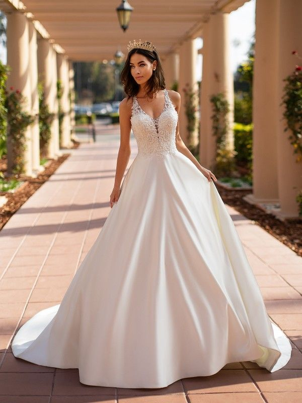 A Line Bridal Gown Inspirational Moonlight Collection S J6742 Satin A Line Bridal Gown In