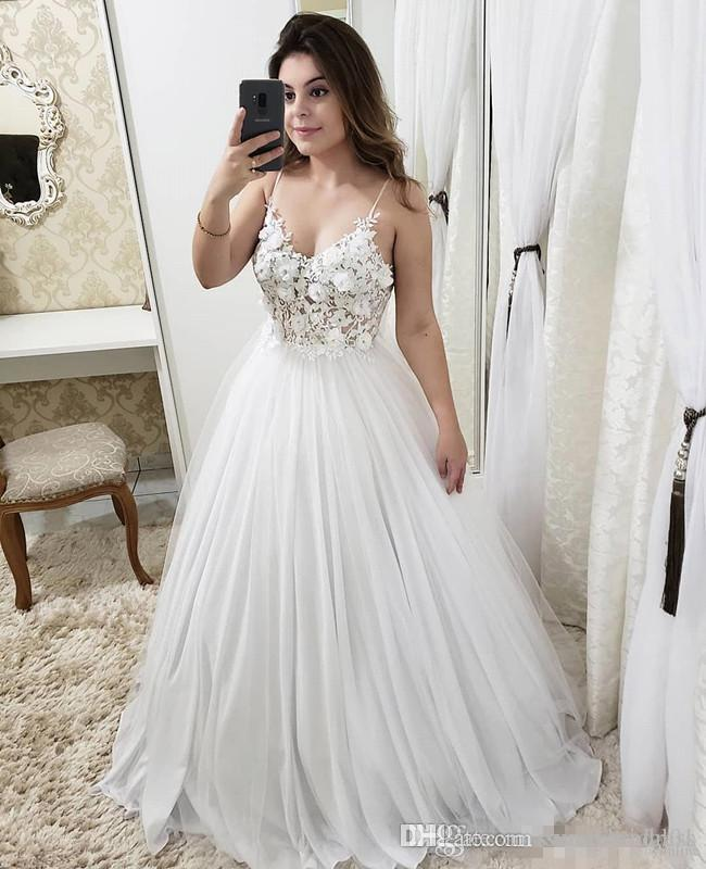 spaghetti a line wedding dresses with