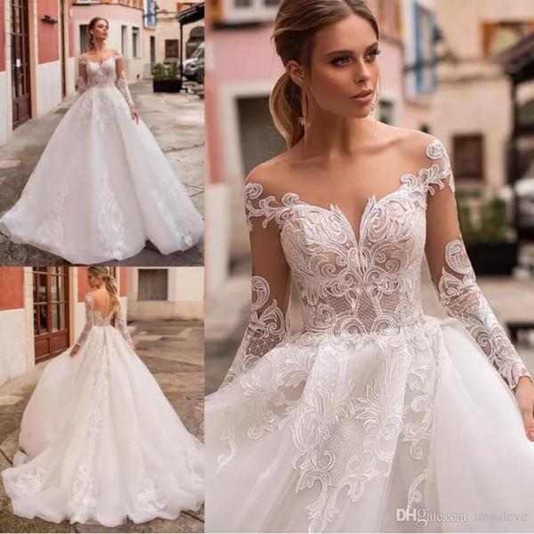 A Line Princess Wedding Dresses Awesome Discount Naviblue Latest Princess Wedding Dresses Scoop Neck Long Sleeve Lace Bridal Gowns Saudi Luxurious Custom Made Illusion A Line Wedding Dress