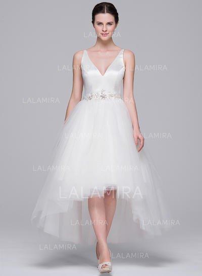 A Line Princess Wedding Dresses Fresh asymmetrical A Line Princess Satin Tulle Chic Wedding Dresses Sleeveless