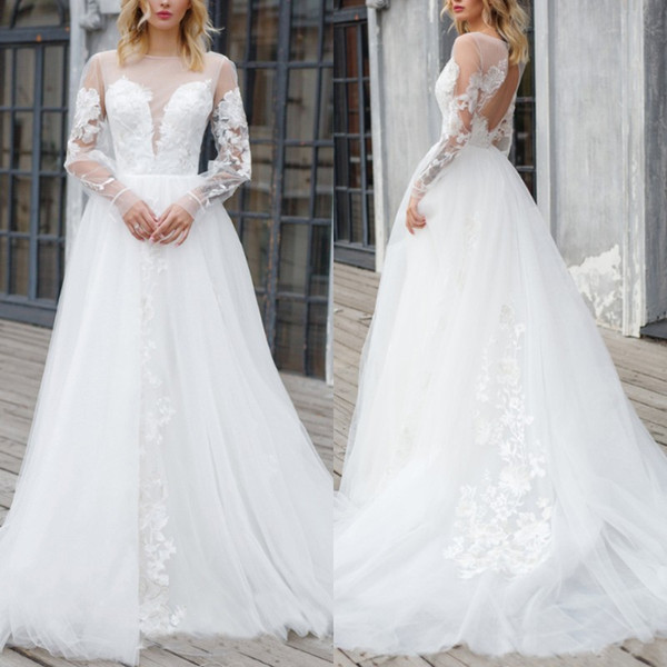 A Line Princess Wedding Dresses Inspirational Discount A Line Princess Wedding Gown Plus Size Long Sleeve Jewel Neck Open Back Wedding Dress with Delicate Appliques Sweep Train Tulle Bridal Gown