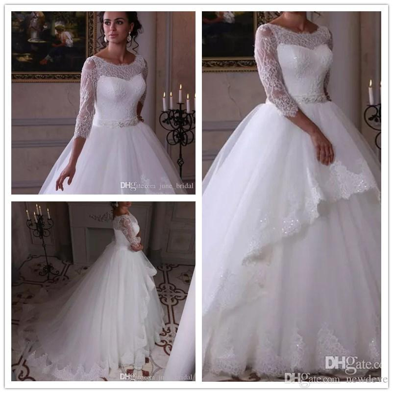 A Line Princess Wedding Dresses Lovely 2018 Princess Wedding Dresses A Line Scoop 3 4 Long Sleeve Sweep Train Bridal Gowns with Lace Applique Beaded Sash Plus Size