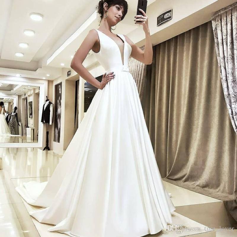 A Line Princess Wedding Dresses Lovely Romantic Princess Wedding Dresses Classic A Line Royal Queen Satin Sweep Train Bridal Dress Y Deep V Neck Sleeveless Wedding Gowns