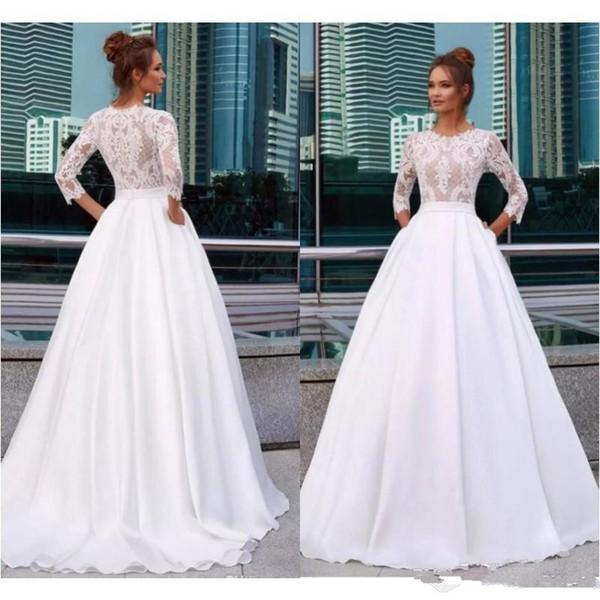 A Line Princess Wedding Dresses Luxury Discount Elegant Princess Wedding Dresses Jewel Neck 3 4 Sleeve Lace Appliques Country Bridal Gowns with Pocket Satin Vestido De Novia Wedding Dresses