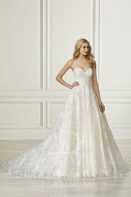 adrianna papell strapless sweetheart neck wedding gown 01 545