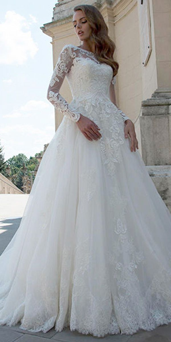 wedding gown necklines awesome marvelous tulle bateau neckline long sleeves a line wedding dress