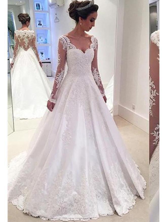 Affordable Wedding Dresses Unique Long Sleeve Lace A Line Cheap Wedding Dresses Line Wd335