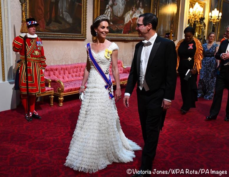 Kate Steve Mnuchin State Banquet White McQueen June 3 2019 Victoria Jones WPA Rota Press Association 777 x 520