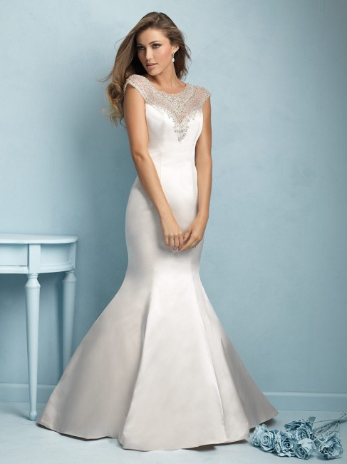 allure 9209 satin fit and flare beaded illusion decolletage scoop neck illusion back covered buttons 01 1320