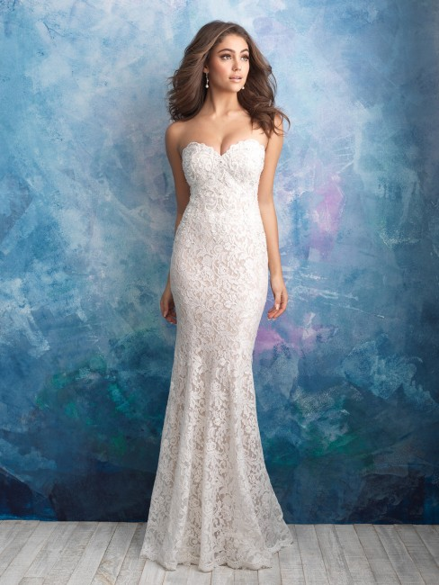 allure bridals 9566 fitted lace wedding gown 01 439