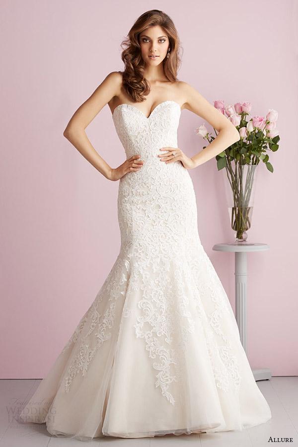 allure bridals spring 2014 allure romance strapless mermaid wedding dress style 2709