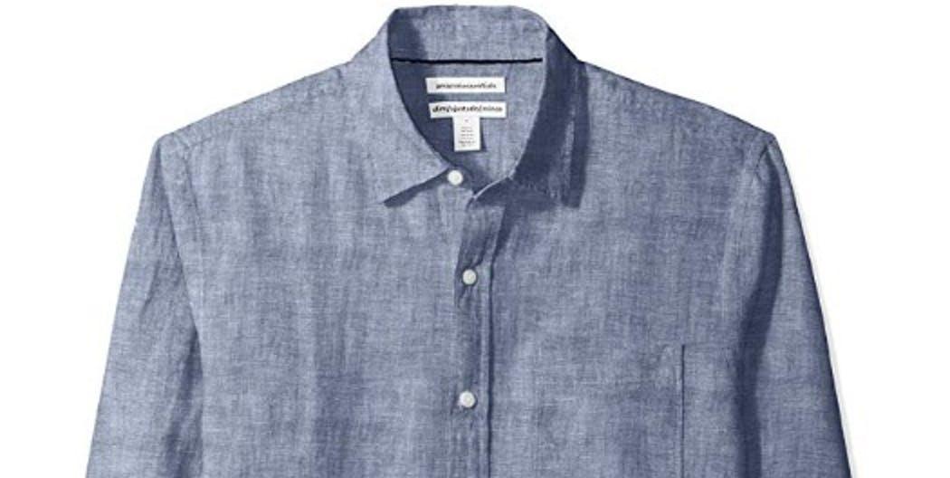 essentials mens slim fit long sleeve linen shirt