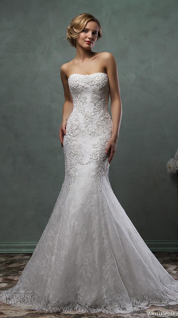amelia sposa 2016 wedding dresses strapless semi sweetheart neckline beautiful embroidery fit flare trumpet mermaid dress camelia
