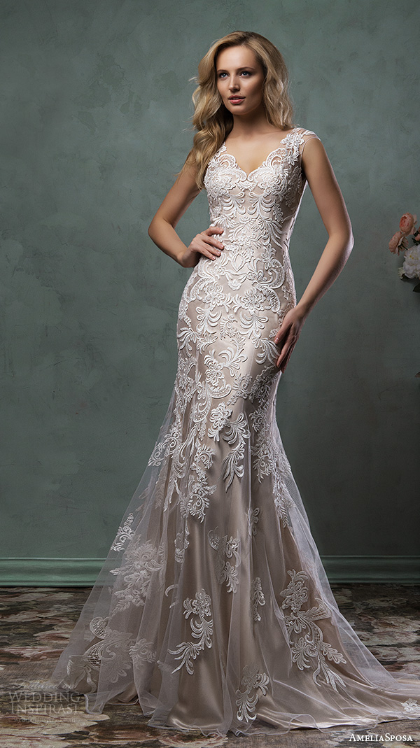 amelia sposa 2016 wedding dresses stunning cap sleeves v scallop neckline embroidered champagne gold fit flare mermaid dress pia