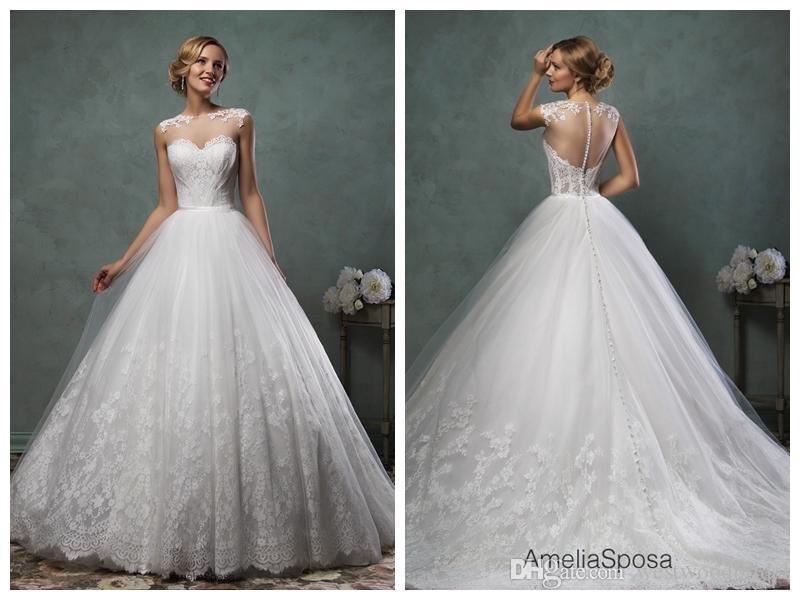 Amelia Sposa 2016 Wedding Dresses Unique 2018 Wedding Dress Amelia Sposa Valery Lace Ball Gown Wedding Dresses Bridal Gowns Vestido De Novia Bateau Sleeveless Cap button Sheer Back