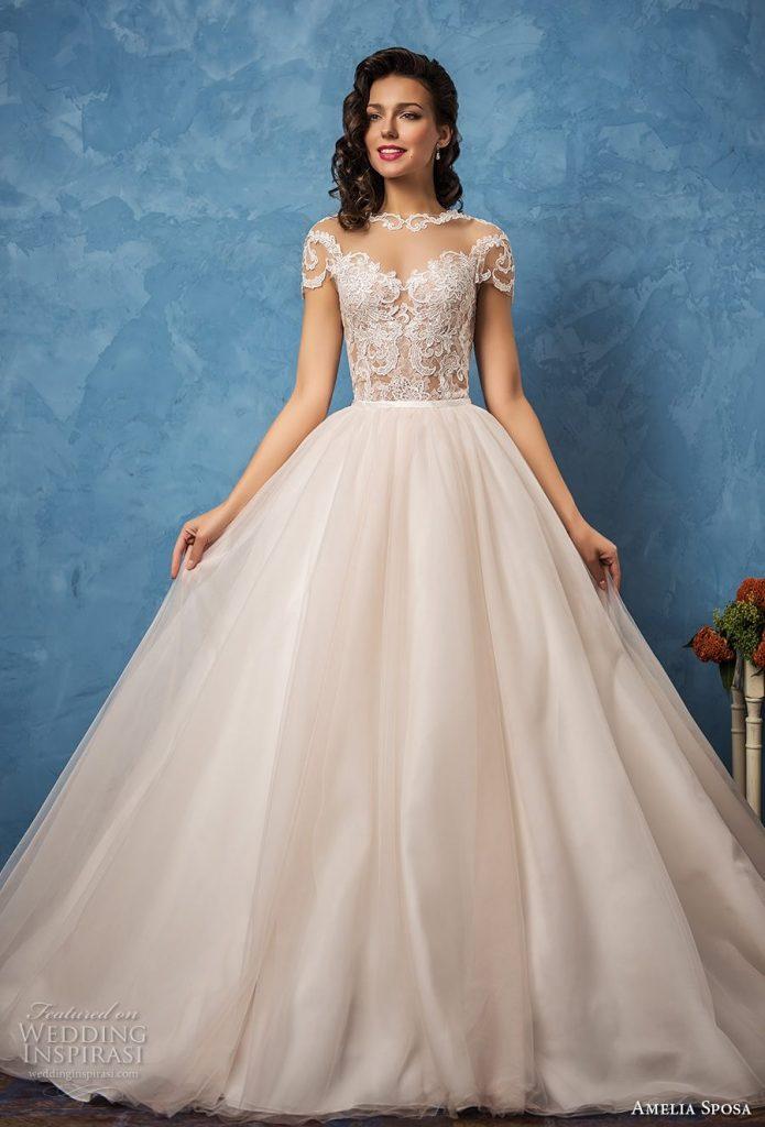 amelia sposa 2017 wedding dresses royal blue bridal collection short wedding dress trend 695x1024
