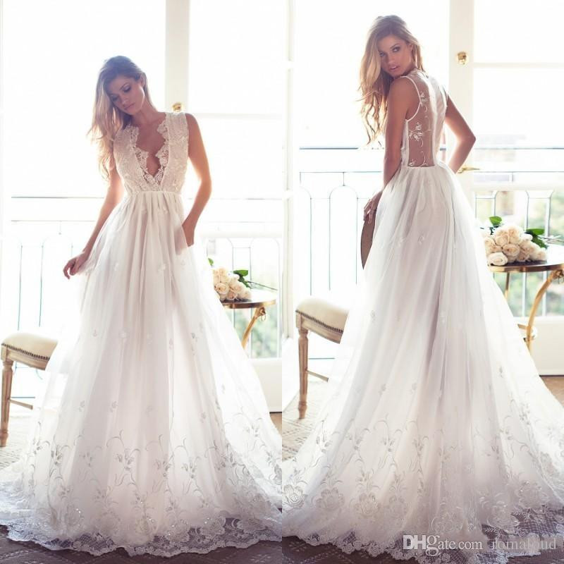 cheap a line wedding dresses 2017 summer bohemian a line wedding dresses lace appliques deep v tasteful