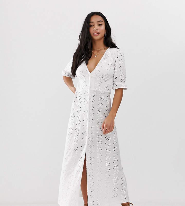 Asos DESIGN Petite broderie maxi tea dress