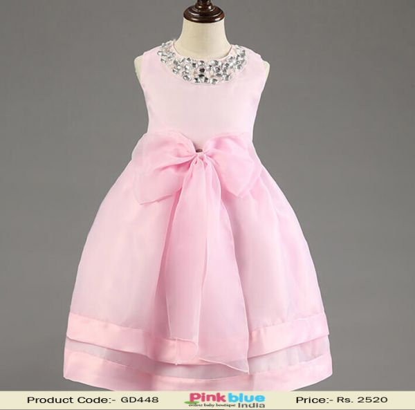baby pink birthday party formal dress for kids