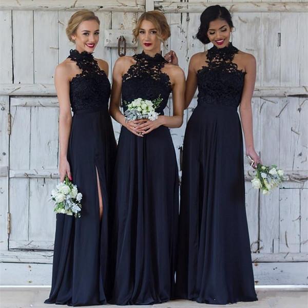 Backless Wedding Guest Dresses Unique Elegant Lace Navy Blue Bridesmaid Dresses Y Halter Split Wedding Guest Dress Sheer Backless Chiffon Cheap Maid Honor Gowns Bohemian Bridesmaid