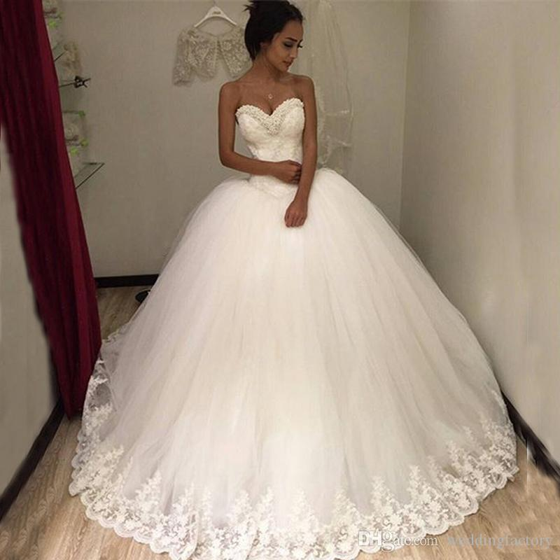 puffy tulle ball gown wedding dresses beaded
