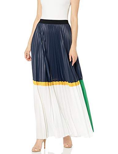 BCBGMAXAZRIA Women s Colorblocked Pleated Chintz Maxi Skirt
