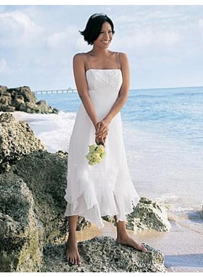 a line spaghetti straps tea length chiffon wedding dress we0112