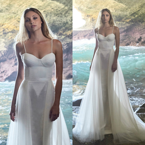 Beach Wedding Dresses Cheap Beautiful Discount 2019 Elbeth Gillis Wedding Dresses Spaghetti Straps Simple Beach Wedding Dress with Overskirt Cheap Bridal Gowns Bride Wedding Dresses Cheap