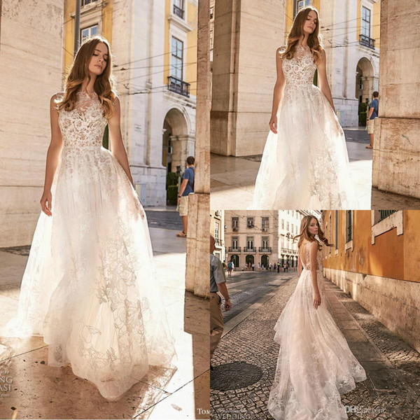Beach Wedding Dresses Cheap Beautiful Discount Gali Karten 2019 Cheap Beach Wedding Dresses Jewel Lace Backless Sweep Train A Line Bridal Gowns Plus Size Bohemia Robe De Mariée Wedding