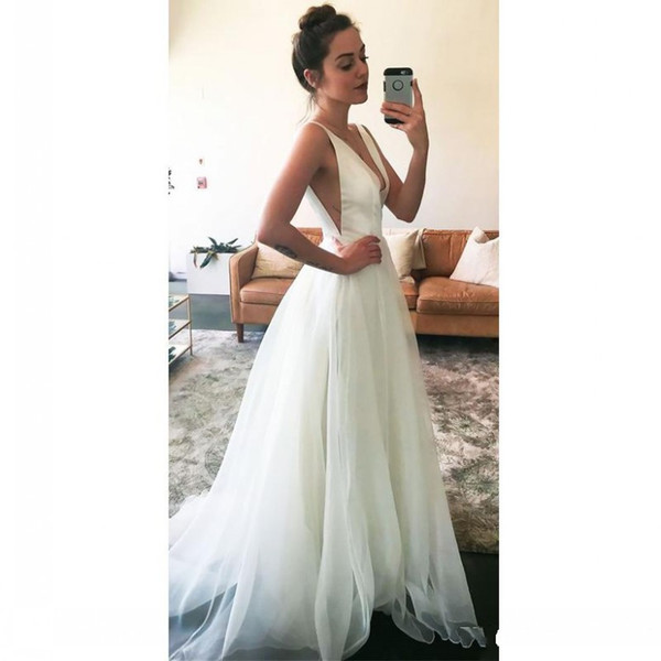 Beach Wedding Dresses Cheap Inspirational Discount Simple Deep V Neck A Line Beach Wedding Dresses 2018 Spaghetti Straps Sleeveless Satin Sweep Train Bridal Gowns Vestido De Novia Cheap